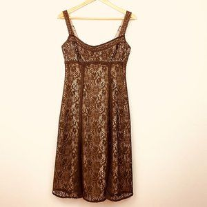DAVID MEISTER Brown Lace Dress